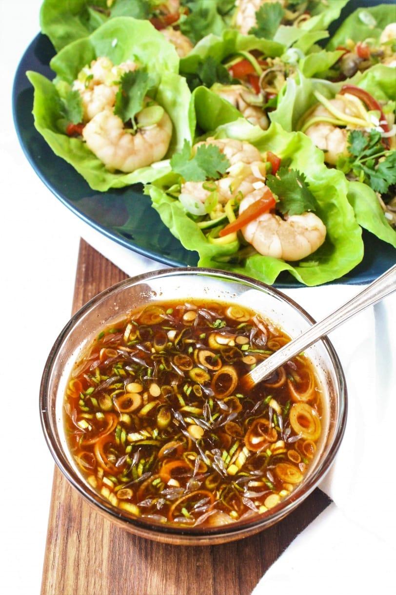 Shrimp Lettuce Wraps - Sriracha Dipping Sauce