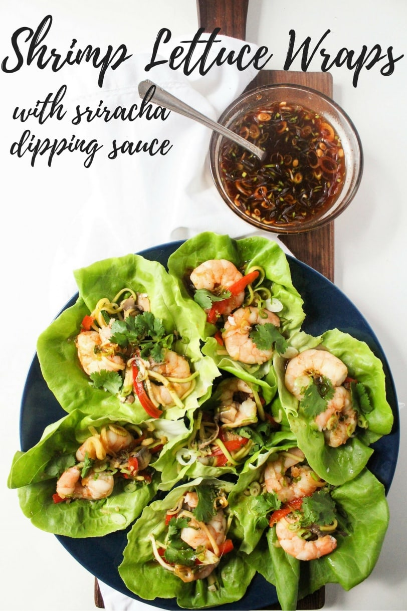 Shrimp Lettuce Wraps with Sriracha Dipping Sauce