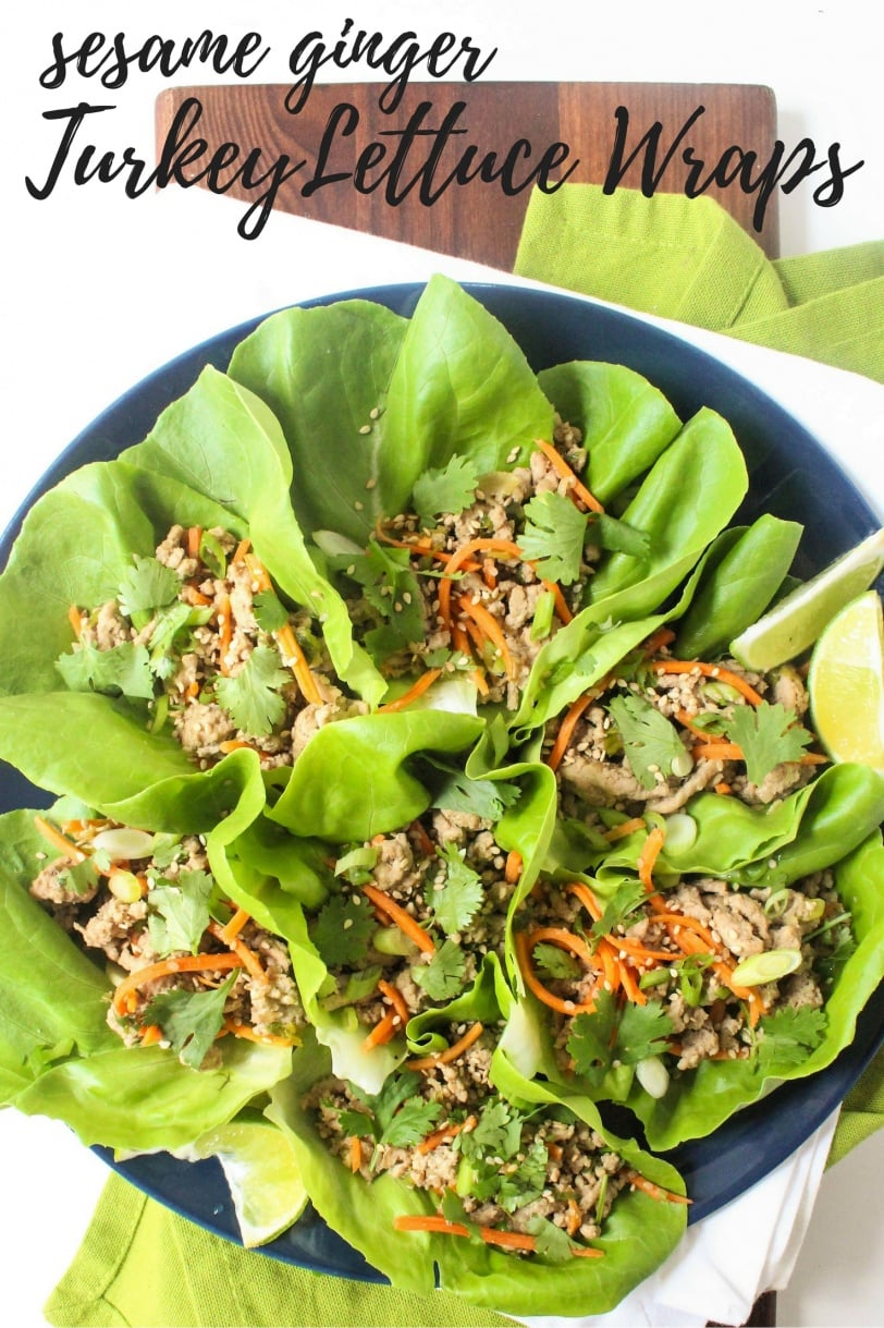 Ground Turkey Lettuce Wraps recipe with ginger & sesame