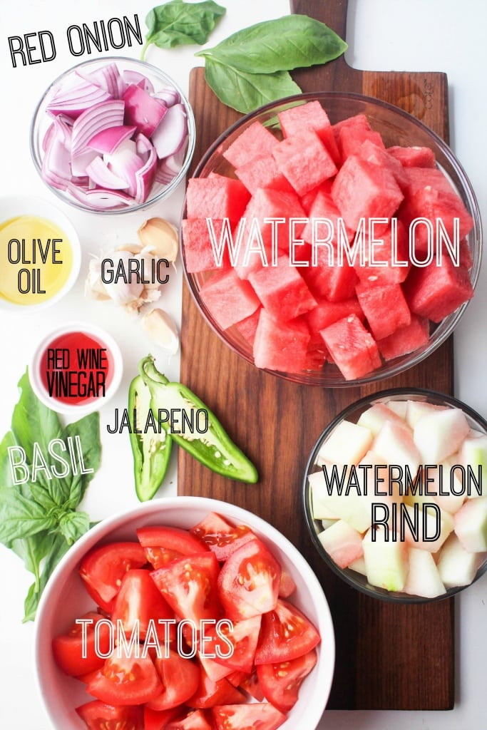 Watermelon Rind Gazpacho - a quick and easy refreshing summer soup!