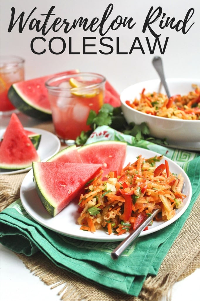 healthy labor day recipes - watermelon rind coleslaw