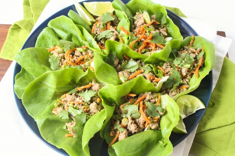healthy lettuce wraps with turkey
