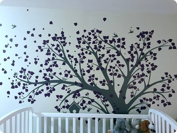 baby crib with tree sticker