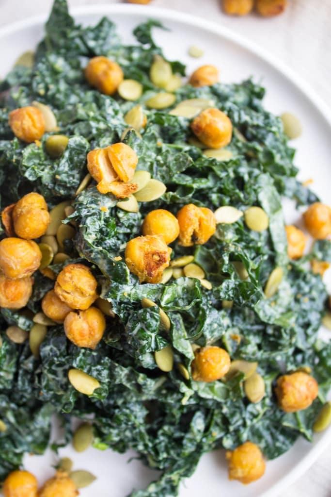 how to love veggies - vegan kale caesar salad
