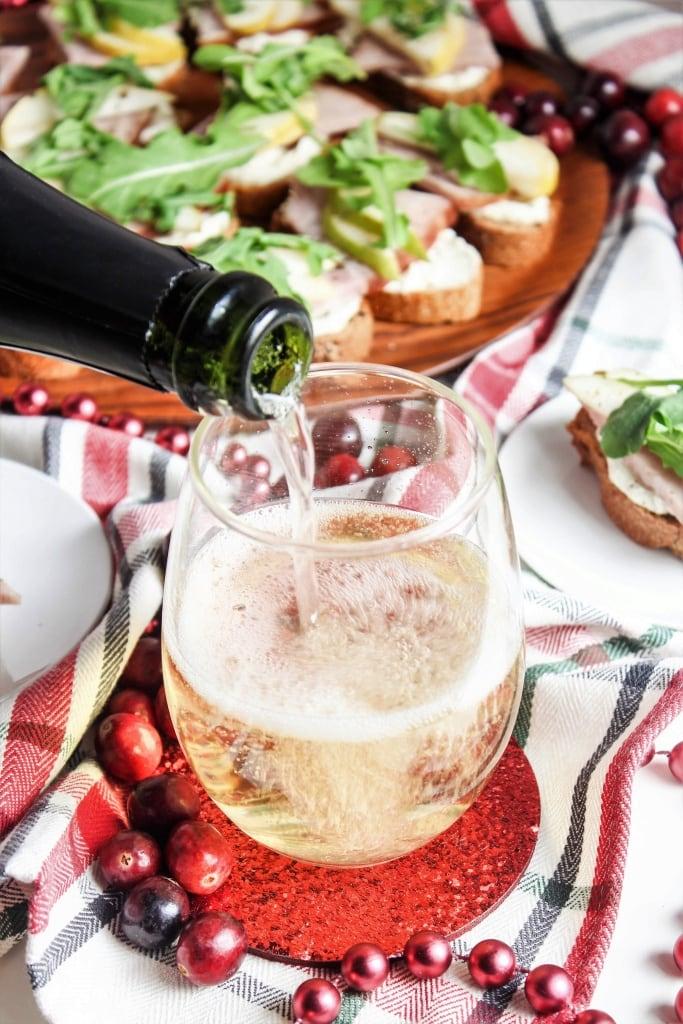 Ham and Pear Crostini with Arugula and Goat Cheese recipe and Aldi's Cava Brut