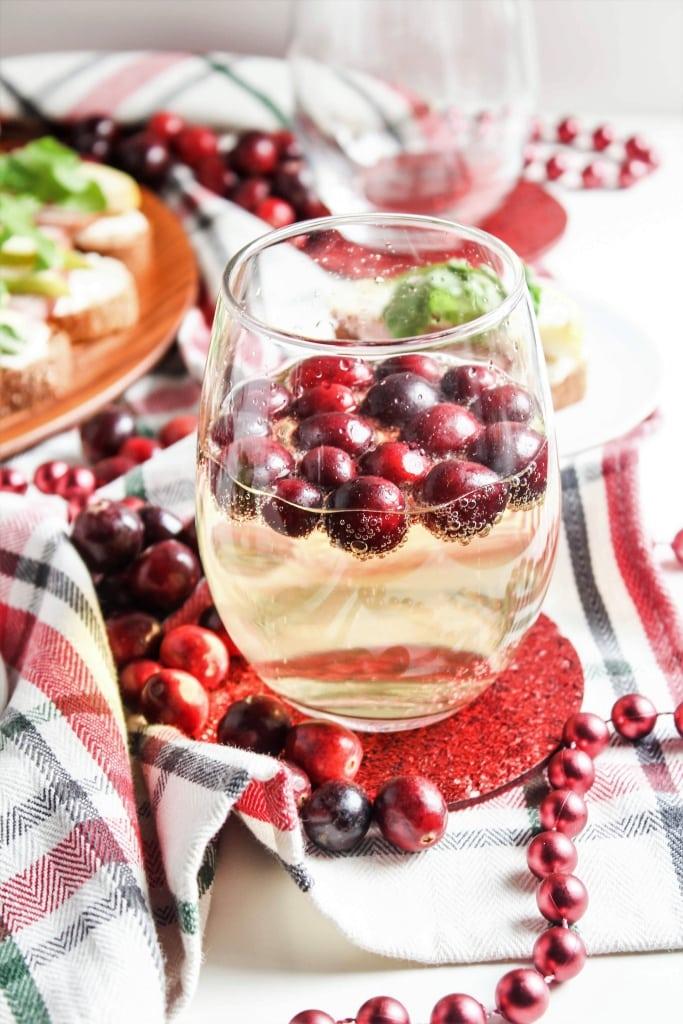 Cava with cranberries