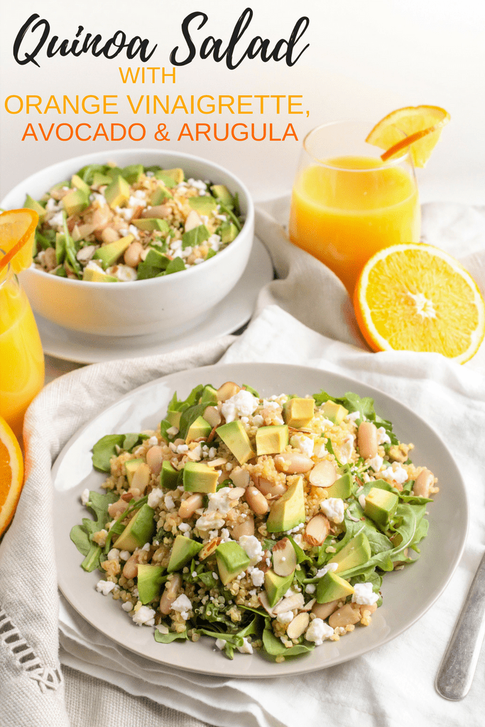 Quinoa Salad with Orange Vinaigrette, Avocado & Arugula - orange juice infuses the quinoa itself and the vinaigrette for a light, fresh, and flavorful lunch or dinner!