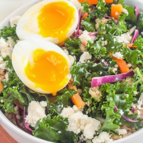 Kale and Quinoa Salad with Soft Boiled Eggs