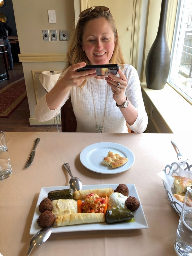 blogger taking pictures of her food