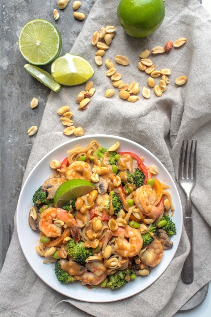 Shrimp & Peanut Noodle Stir Fry, from @fannetasticfood's Mix & Match Stir Fry Recipes: Choose your favorite protein, veggies, and sauce for a delicious one-pan 15-minute dinner! The stir fry combinations are endless! #stirfry #healthydinner #onepotmeal #healthyrecipes