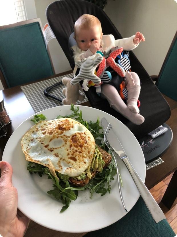 avocado toast with baby