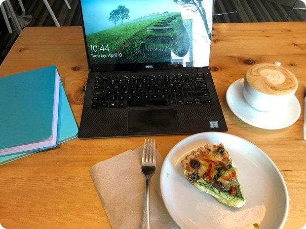coffee shop work with latte and quiche