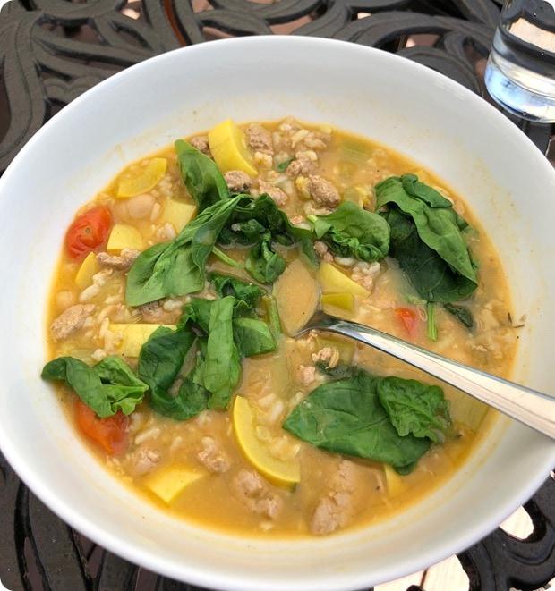 soup turkey veggie rice