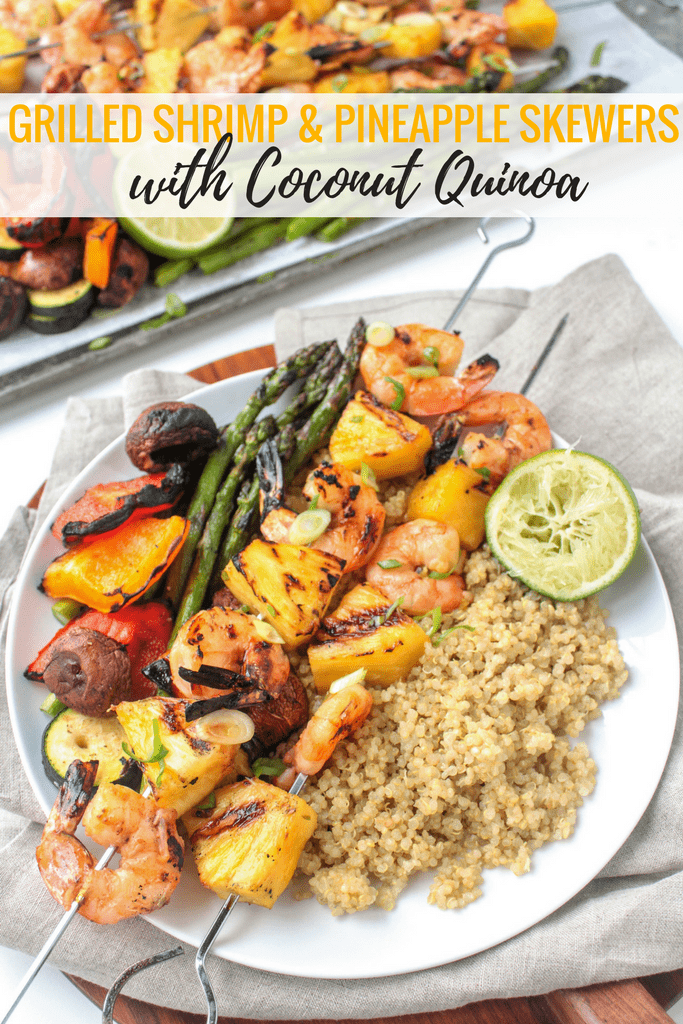 Grilled Shrimp & Pineapple Skewers with Coconut Quinoa - the perfect easy, healthy recipe for summer entertaining! @fannetasticfood
