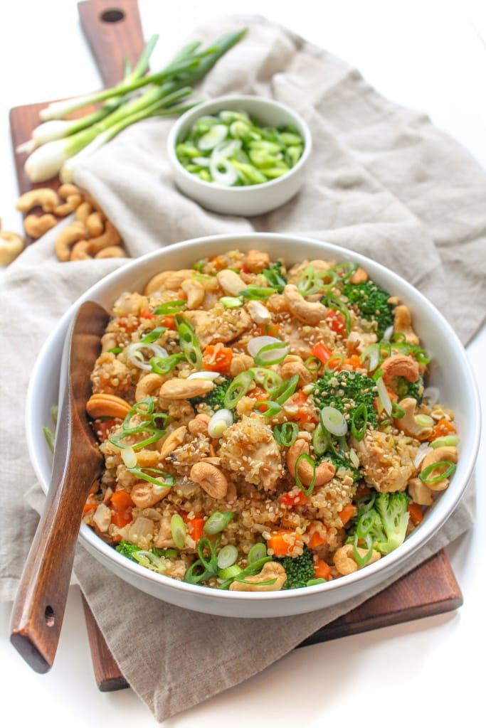 healthy instant pot recipe -- Instant Pot Quinoa Fried Rice with Chicken - gluten free, healthy 30 minute meal! via @fannetasticfood