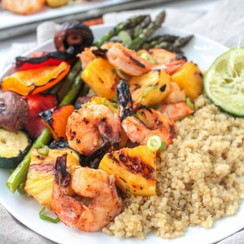 Grilled Shrimp & Pineapple Skewers with Coconut Quinoa