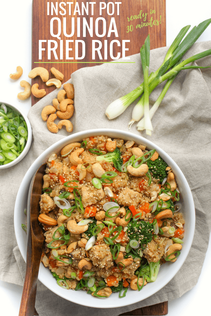 Instant Pot Quinoa Fried Rice with Chicken - gluten free, healthy 30 minute meal! via @fannetasticfood