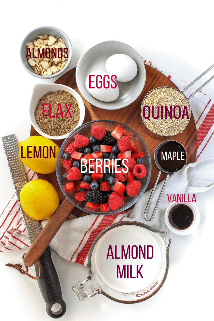 lemon berry quinoa breakfast bake ingredients