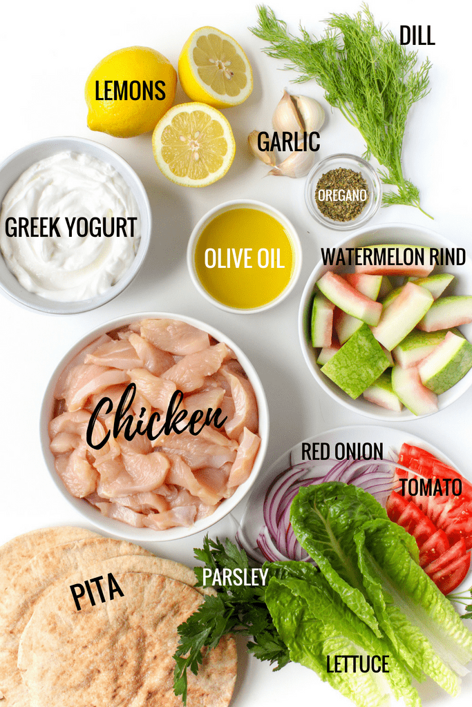Chicken Gyros with Watermelon Rind Tzatziki ingredients