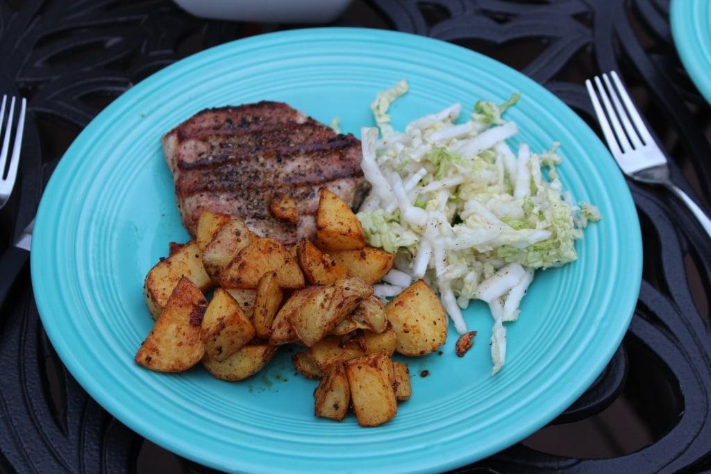 blue apron grilled pork chops etc