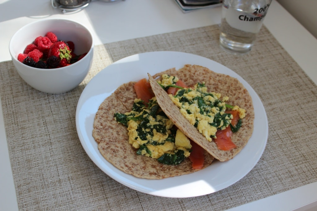 scrambled egg cheese spinach salmon wraps