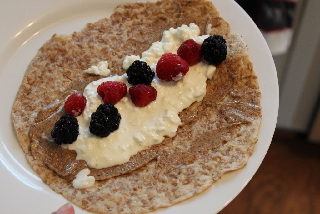 cottage cheese berry almond butter wrap
