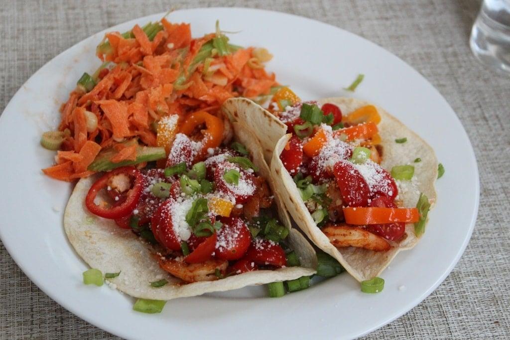 shrimp tacos carrot celery slaw