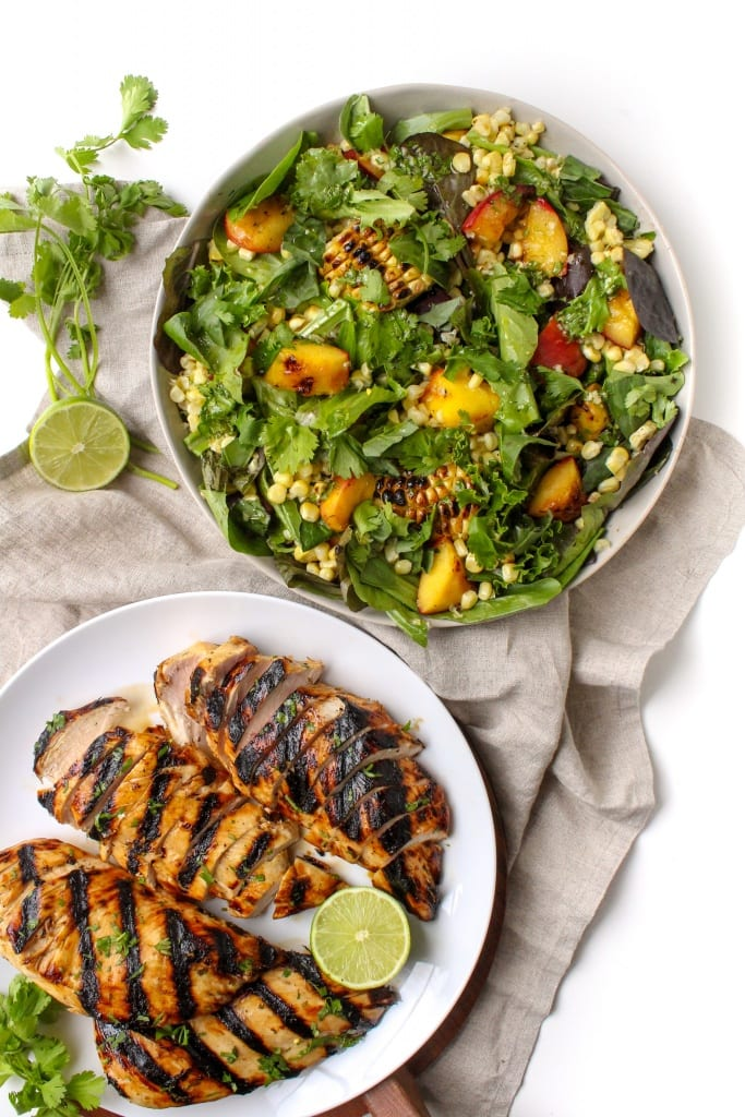 Honey Lime Chicken with Grilled Peach and Corn Salad recipe