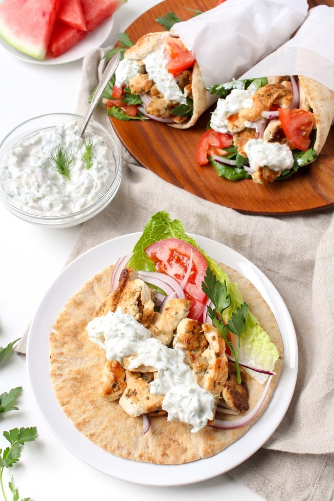 Chicken Gyros with Watermelon Rind Tzatziki - the perfect quick and easy summer dinner recipe to use the WHOLE watermelon and reduce food waste! Recipe via @fannetasticfood