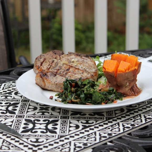 sous vide pork with sweet potatoes and chard
