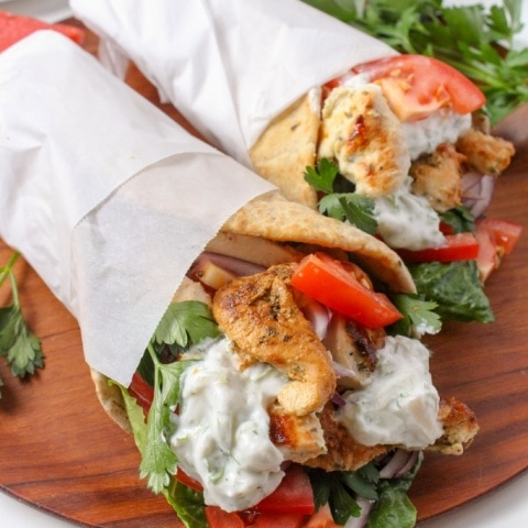 Chicken Gyros with Watermelon Rind Tzatziki