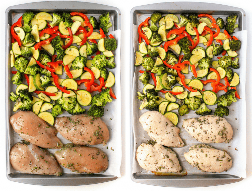 chicken and veggies on a sheet pan