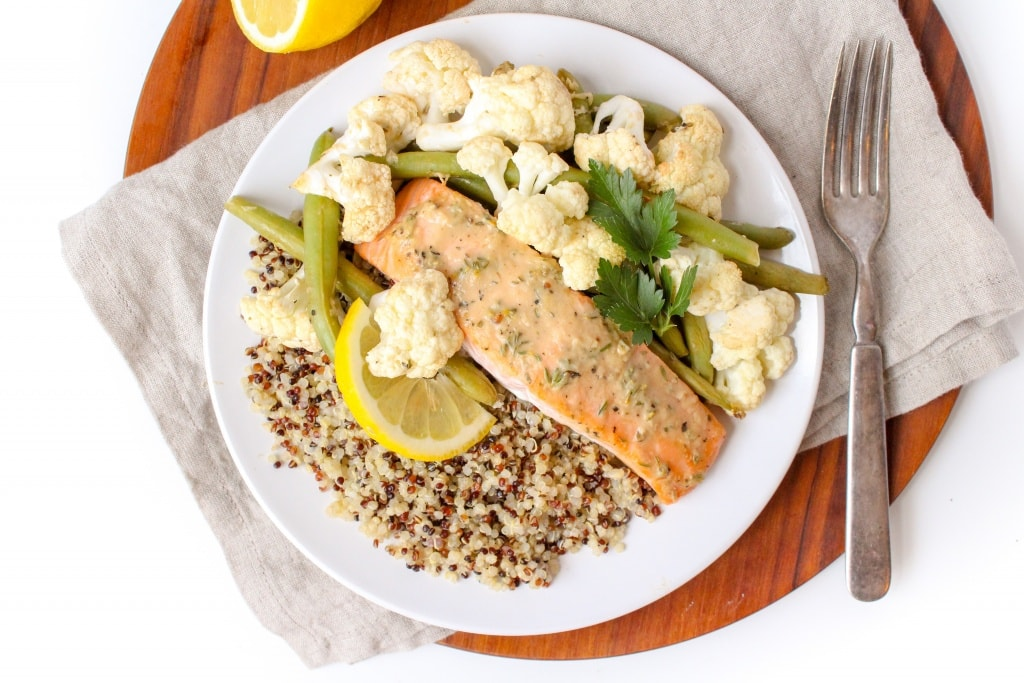 Mix & Match Sheet Pan Dinners salmon quinoa