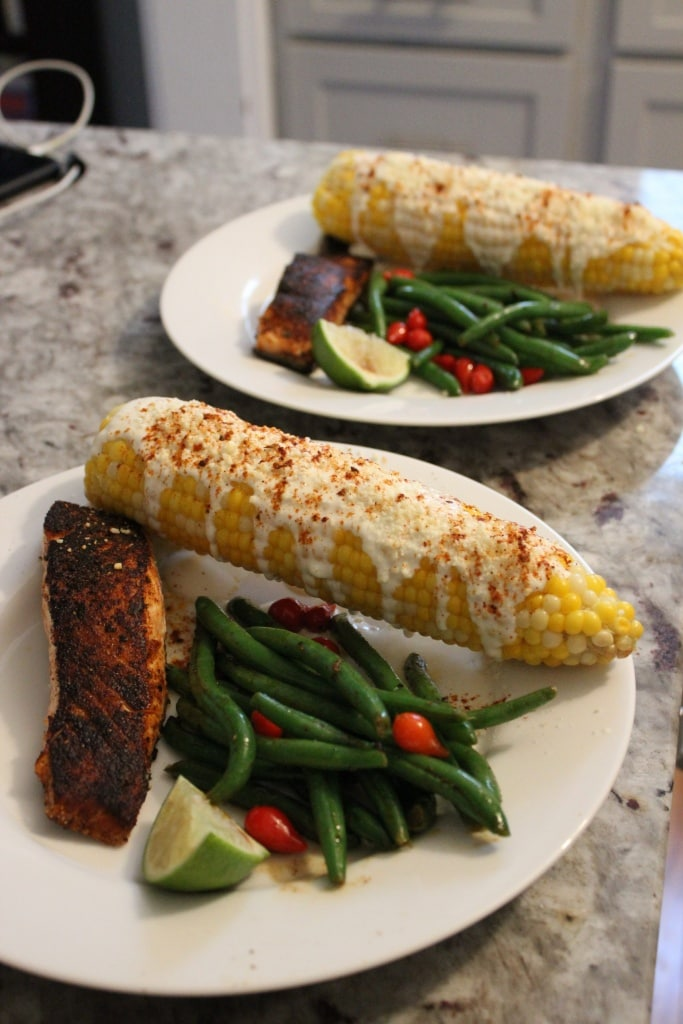 salmon with corn and veggies