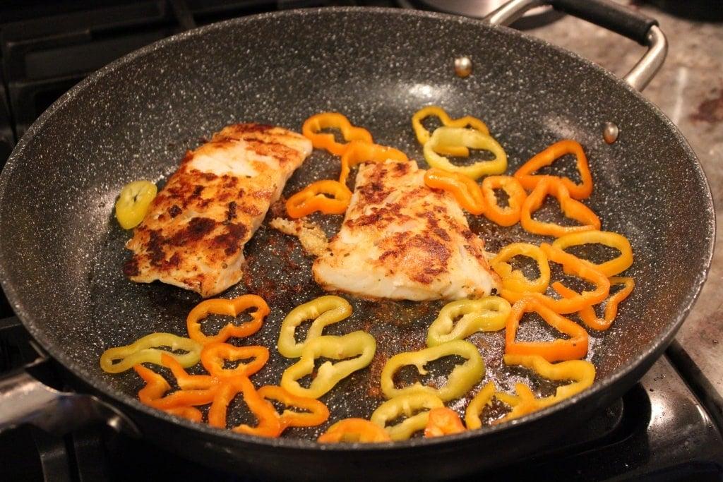 cod seared peppers