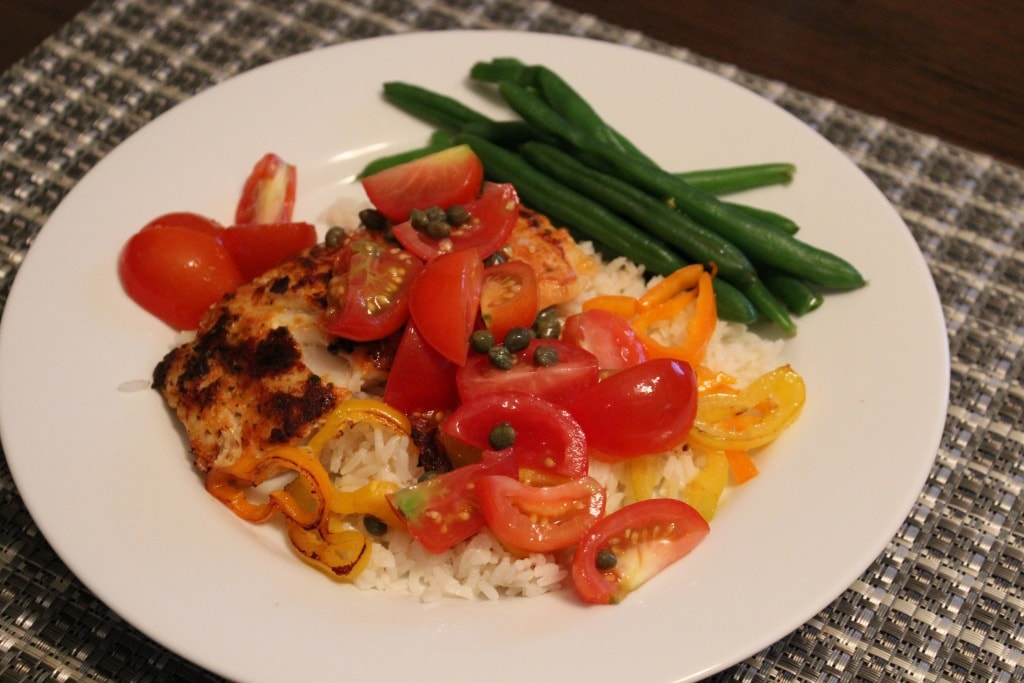 cod with peppers rice tomatoes