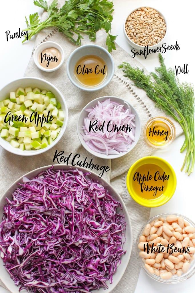 white bean cabbage slaw ingredients