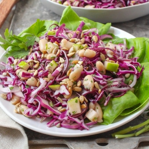 White Bean & Cabbage Slaw with Apples & Cider Vinaigrette
