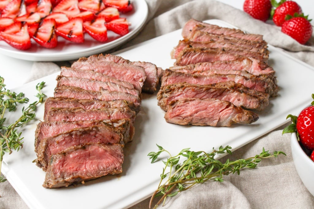 grilled steak for strawberry salad