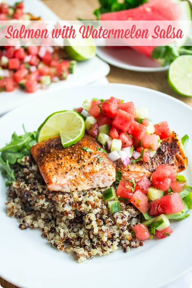roasted salmon with watermelon salsa