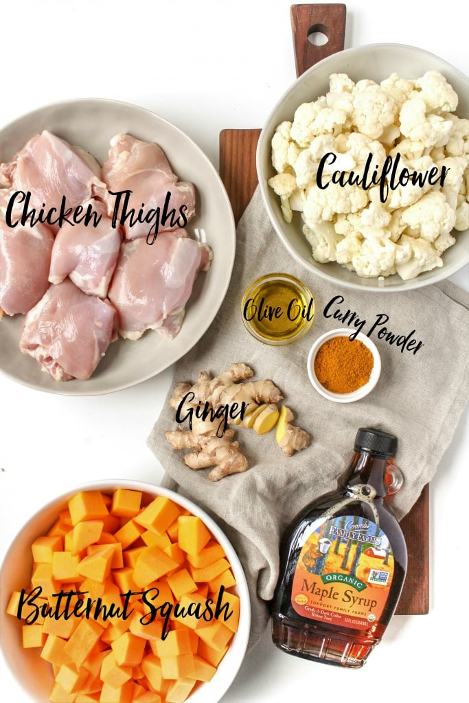 Sheet Pan Maple Curry Chicken Recipe ingredients