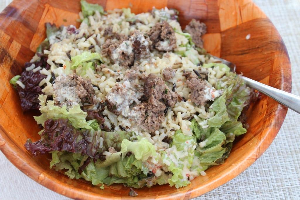 burger salad with tahini dressing