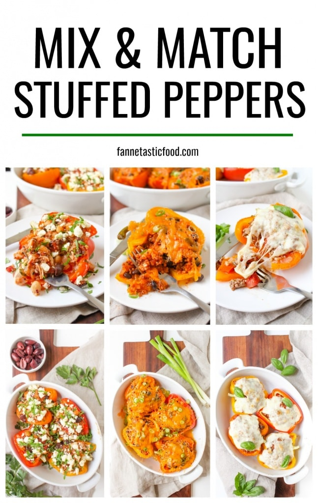 Mix & Match Stuffed Peppers - the perfect healthy, easy, and flexible dinner! Choose your favorite fillings and seasonings for delicious stuffed peppers every time!