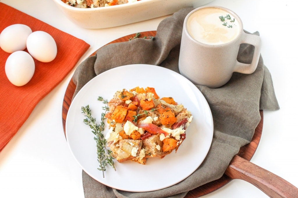 butternut squash, prosciutto and goat cheese strata recipe