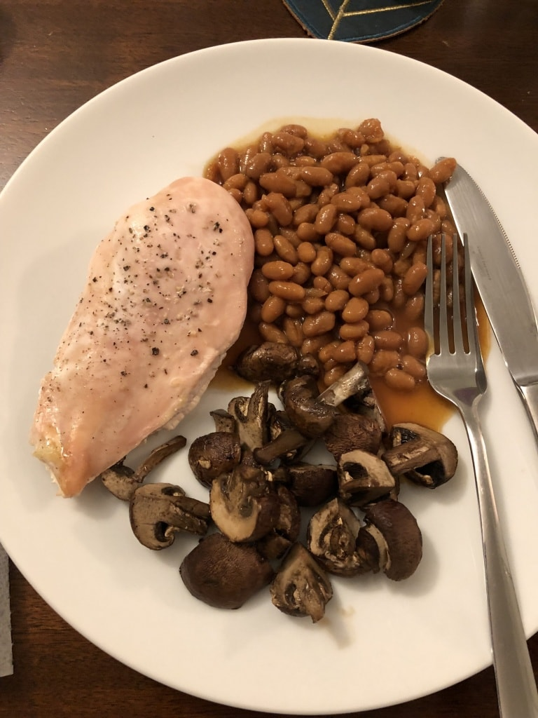 baked beans chicken mushrooms