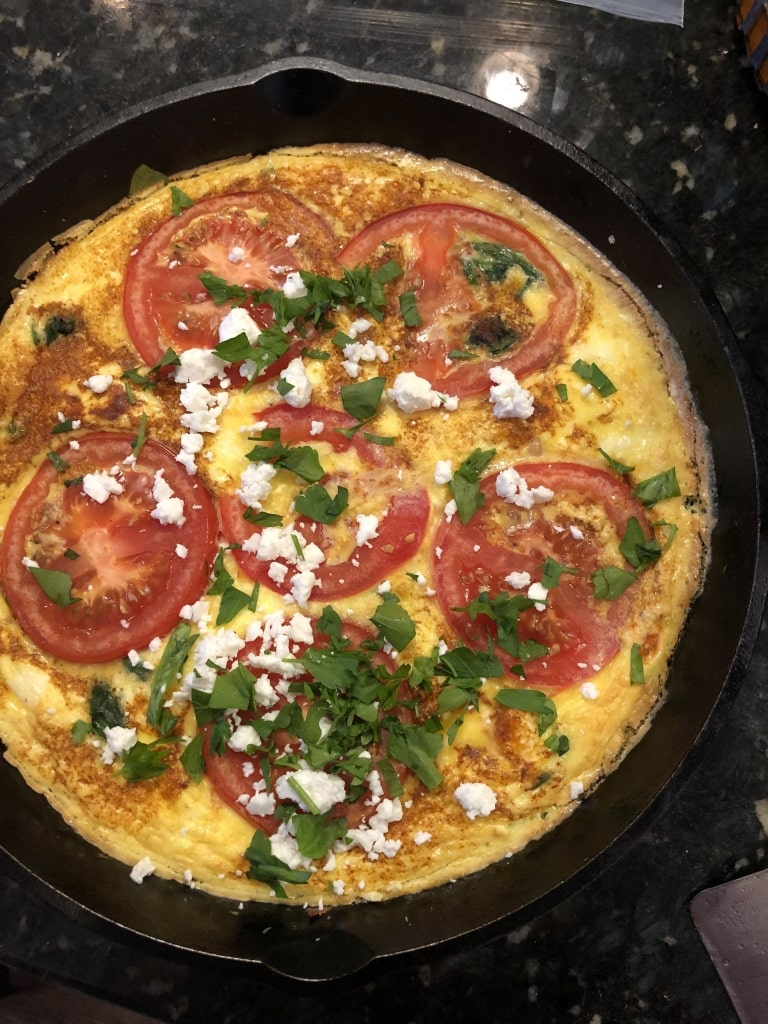 frittata with tomato slices