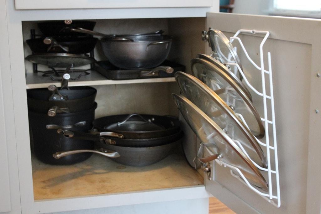 inside cabinet pot lid organizer