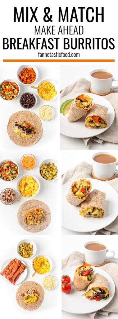 Mix & Match Make Ahead Breakfast Burritos - Use this method to create endless combinations of breakfast burritos for busy weekday mornings!