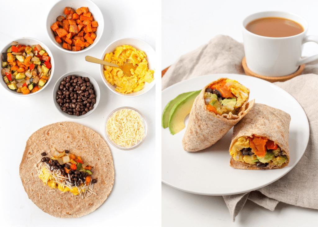 sweet potato black bean Make ahead breakfast burritos