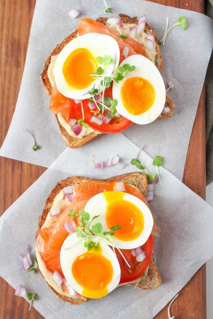 hummus toast with smoked salmon and soft boiled eggs recipe
